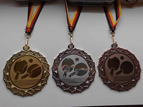Fanshop Lünen Medaillen Set - Große Stahl 70mm - Gold,Silber,Bronce, Tischtennis - TT - mit Alu Emblem 50mm (Gold,Silber,Bronce) - Medaillenset - (e111) -