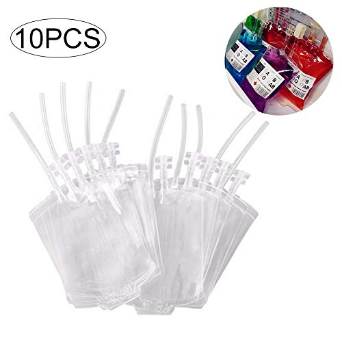 (Ouken 10pcs Halloween Blutbeutel Spielzeug Getränkeverpackungen Getränke Taschen für Halloween Cosplay Partei (Blut-Beutel-Klipp und Label))