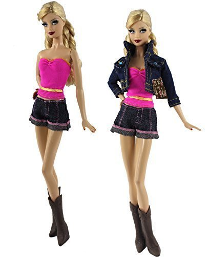 Preisvergleich Produktbild ZITA ELEMENT 5in1 Set Denim Wear Kleidung Mode Outfit Coat + shorts + Weste + Notizen + Stiefel für Barbie-Puppe