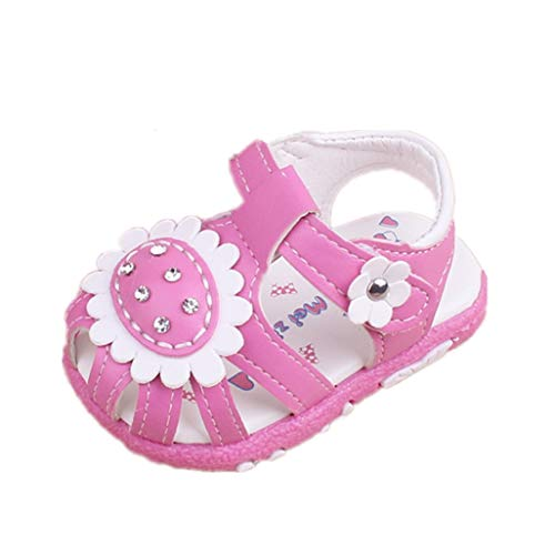 Auxma Weiche Sandalen für Baby Mädchen,rutschfeste Kleinkind Sommer Krippe Schuhe für 0-24 Monate (20 EU, Rose rot)