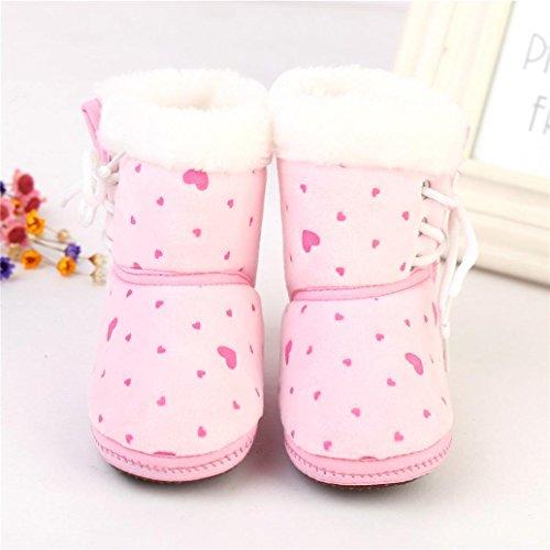Babyschuhe Longra Baby Kleinkind neugeborenes Herz Print Stiefel Prewalker Lauflernschuhe Krippeschuhe warme weiche Sohle Stiefel Schuhe( 1-12 Monate) Pink