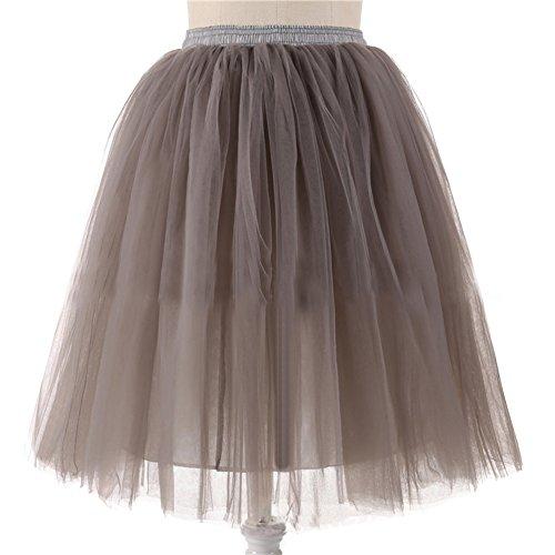 Honeystore Damen's 5 Layer Knielanger Rock Elastic Bund Tutu Prinzessin Tütü Tutu Petticoat Ballettrock One Size (Jasmin Kostüm Prinzessin Halloween Für Frauen)