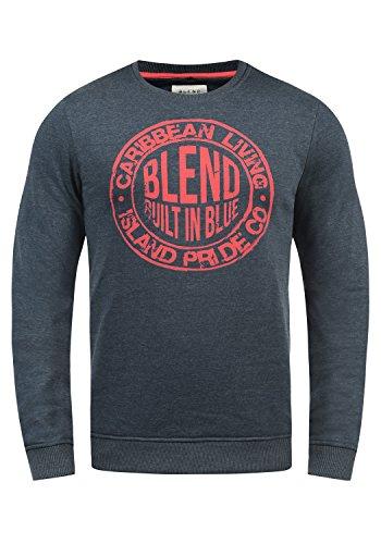 Blend Ilas Herren Sweatshirt Pullover Pulli Mit Rundhalsausschnitt, Größe:M, Farbe:Mood Indigo Blue (74648) (Golf-pullover Blau)