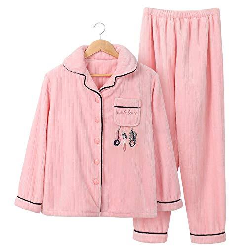 Yshuiyi Pyjamas Pyjamas Weibliche Herbst Und Winter Süße Süße Warme Langärmelige Dicke Korallen Flanell Strickjacke Hause Service Anzug Winter