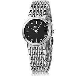 ZHHA Women's Watches 008 Quartz Black Dial Stainless Steel Bracelet Wrist Watch Waterproof