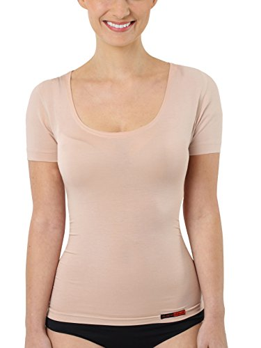 b96fd7fbdb92 ALBERT KREUZ invisible women's business undershirt with short sleeves and  deep U-neck made of extra-light stretch-cotton, nude-coloured XL