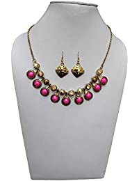 Trendeela.com Zoe Stylish Necklace Set With Gold Tone & Pink Work