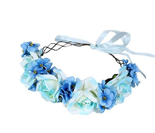 Vivivalue Verstellbare Blume Stirnband Blumengirlande Krone Halo Kopfschmuck Boho mit Schleife Hochzeit Festival Party - - Einheitsgröße
