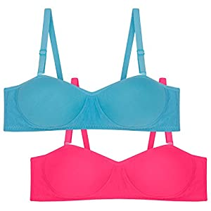 Tweens women's Demi Cup Turquoise Blue Dark Pink Padded T-Shirt Bra Pack of 2   TW1201-TBLU-2PC-DPK_AS_32B