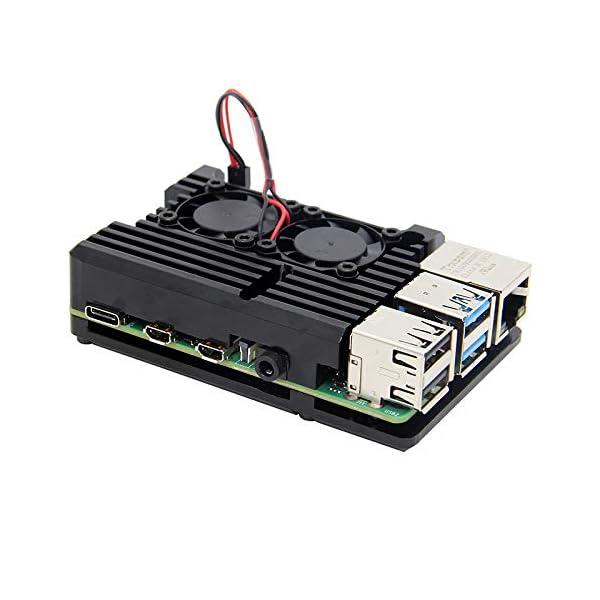 Pi 4B Case without Fan Raspberry Pi 4 Armure Cas Radiateur avec Double Ventilateur raspberry Pi 4B En Alliage aluminium Cas De Refroidissement Passif pour Raspberry Pi 4 Mod/èle B Seulement