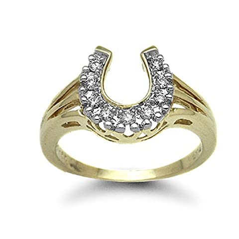 Jewelco London Ladies Solid 9ct Yellow Gold Pave Set Round