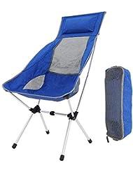 Silla Plegable Camping, Portátil Reclinable Silla Camping Aluminio Ligera Comoda Silla de Camping Set con Bolsa para Easy Camping / Senderismo / Viaje / Caza / Pesca / Acampada, Soporta Hasta 150 KG