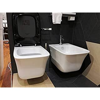 Artceram Cow wall toilet and bidet with soft close black seat.
