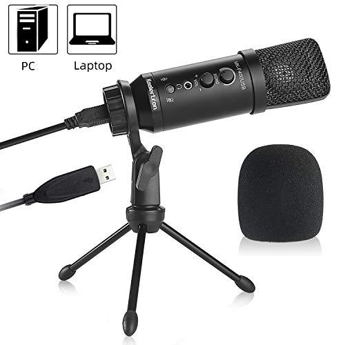 Koolertron USB Mikrofon Kondensator,Aufnahme Podcast Microphone Aufhängung Arm-Stativ PC Laptop Mikrofon, Verstellbarem Mikrofonständer Kit Cardioid für studio Skype Youtube mit Popschutz(Windows/Mac)