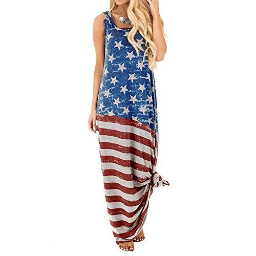 MAYOGO Vintage Maxikleider USA Flagge Sommerkleid Damen Sommer Kleider Lang Amerika Flagge Kleidung Tank Kleider Weste Kleid Ohne ärmel (Kleid Flagge Usa)
