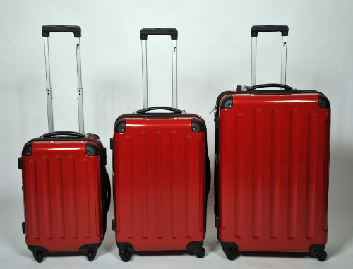 Set di 3 singolo o M/L/XL/policarbonato/ABS Flight Case Valigia Rigida Trolley Set Set di valigie 4 ruote RED L