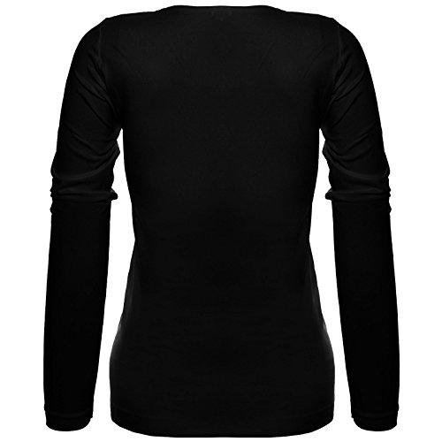 BEZLIT Langarm Pullover Oberteil Bluse Tops T-Shirt mit V-Ausschnitt Basic Shirt 20640 Schwarz