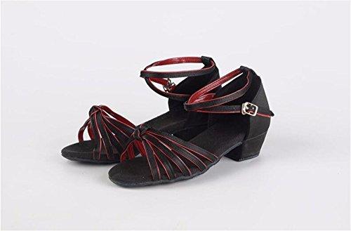 SQIAO-X- Scarpa Danza Con Un Basso Profilo Di Raso Fibbia Fondo Morbido, Adulti Professional Latin Scarpe Da Ballo Nero e rosso