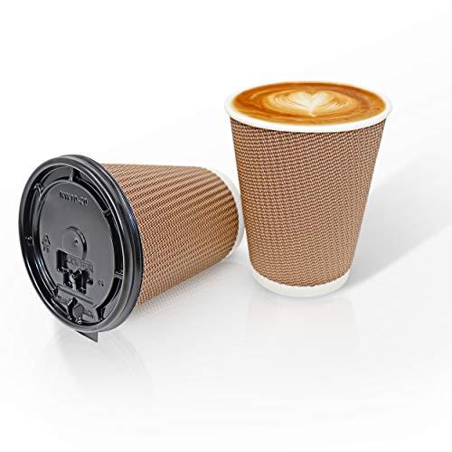 Tazze di caffè monouso (340 ml) ~ 30 bicchieri di carta a doppia parete + coperchi di plastica a prova di perdite ~ resistente, eco-compatibile, struttura easy grip per bevande calde
