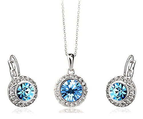 Shining Diva Fashion Party Wear Blue Crystal Pendant Necklace Jewellery Set with Earrings For Girls and Women
