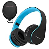PowerLocus P1 - Auriculares Bluetooth inalambricos de Diadema Cascos Plegables, Casco Bluetooth con Sonido Estéreo con Conexión a Bluetooth Inalámbrico y Cable para Movil, PC, Tablet - Negro/Azul