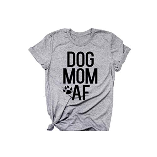 fexgaoo Damen Dog Mom AF T-Shirt Lustige Brief Druck Hundeliebhaber Kurzarm Tee T-Shirt -