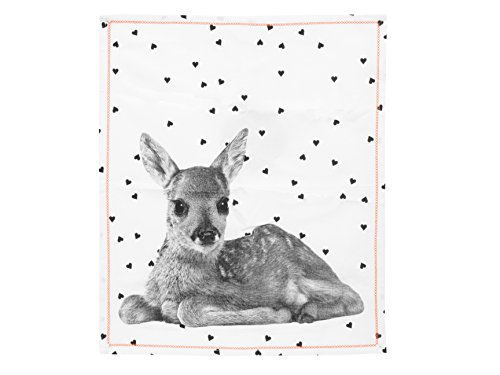 Present Time PT3136 Canevas Hearts Deer Coton Blanc/Noir 55 x 65 cm