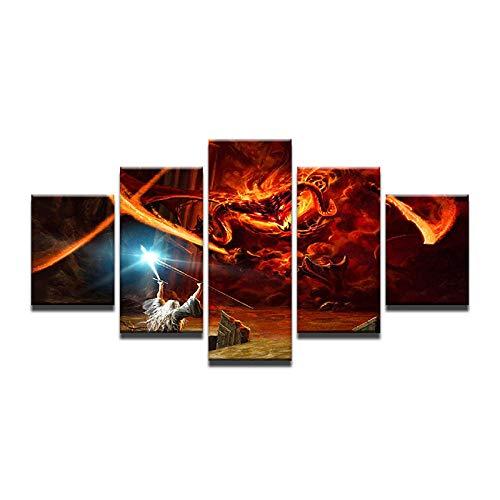 WEPAINT Malerei An Der Wand Gandalf Kampf gegen Den Drachen Der Herr der Ringe Balrog Film Wandbilder Für Wohnzimmer Kunst 40X60 40X80 40X100 cm - Poster Herr Gerahmte Der Ringe