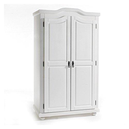 Garderobenschrank Dielenschrank Kleiderschrank MÜNCHEN, Kiefer, 2-türig 2 Türen, weiß