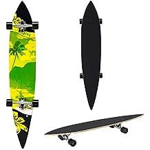 [pro.tec] Monopatín Longboard para el cruising en la ciudad y el parque - 116x22x12cm - Skateboard (negro, amarillo, verde con palmas)