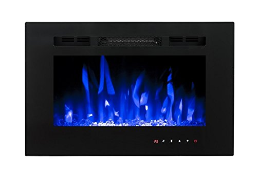 41CVwWpm0GL - 2021 New Premium Product 26inch Black Wall Mounted Electric Fire with 3 Colour Flames and can be Inserted (Pebbles, Logs…