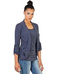 KRISP Damen 2in1 Cardigan Shirt Top mit Silberfäden