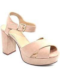 Femme 70beige talons hauts à talon bloc de style opentoe Chaussures Taille 3–8