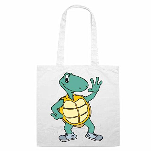Tasche Umhängetasche Motiv Nr. 12914 Schildkröte als Läufer Cartoon Spass Fun Kult Film Serie Cartoon Spass Fun Kult Fil