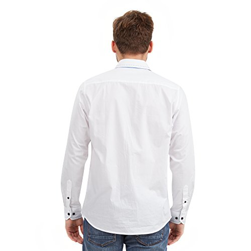 Joe Browns Savy Stitch Collar, Chemise Casual Homme Blanc - White (A-White)