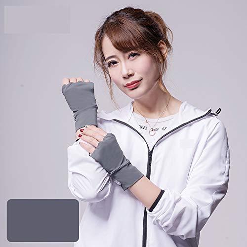 Qiuli Mode Persönlichkeit Handschuhe Handschuhe UPF50 + Fingerlose, UV-beständige, atmungsaktive, rutschfeste Handschuhe (Color : Mocha Gray, Size : L-Five Pairs) (Non-slip-fünf Beständig)