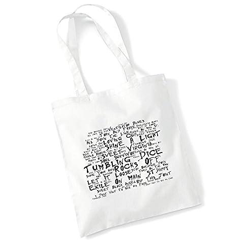 Art Studio Tote Bag - THE ROLLING STONES - Exile On Main St. - Noir Paranoiac - Music Lyrics Album Art Print Poster Beach Gym Festival Shopper Gift