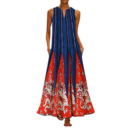 Binggong Damen Ärmellos Sommerkleider Vintage Strandkleider Türkischer Stil Boho Lose Lange Shirt Strandhemd Kleid Maxikleider (Süßes Flapper Kleider)