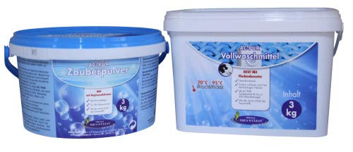 AQUA CLEAN Pur Zauberpulver mit Hygieneaktivator 3kg + Vollwaschmittel mit Flecken-Booster 3kg