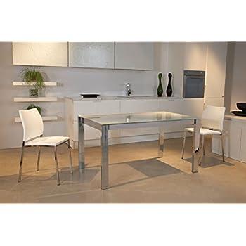 Tavolo allungabile vetro bianco satinato struttura silver for Tavolo vetro satinato