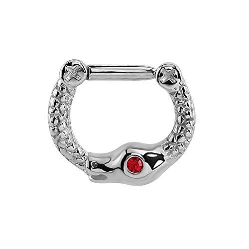 eeddoo Septum-Piercing Schlange mit Kristall Silber Edelstahl Rot
