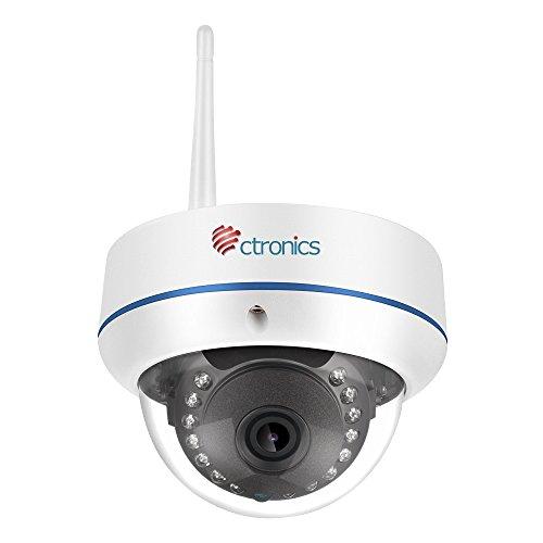 【1080P】Ctronics Ueberwachungskamera Dome Kamera IP WIFI Wireless Kamera 1080p, 20m IR 2.8mm Objektiv, ONVIF SD-Karte Slot CTIPC-224C1080PWS (1080p überwachungskamera Dome)