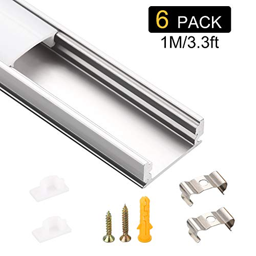 6 Pack LED Aluminium Profil U-form 1m/3.28ft Schiene für LED Strip Lights Breite 12mm Schneidbar Mit Endkappe Befestigungsclip Geeignet für Drinnen und Draußen