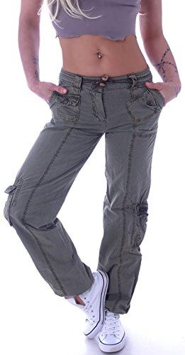 Damen Cargohose Stoffhose Cargo Hose Hüfthose Jeans XS 34 S 36 M 38 L 40 XL 42 (Olive, XL 42)