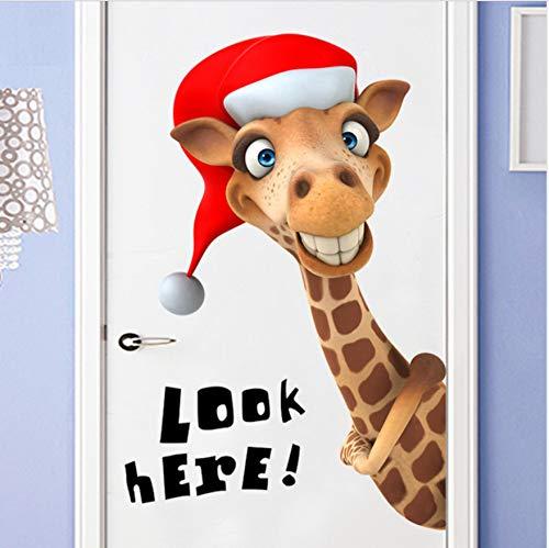 3D Nette Giraffe Vinyl Wandaufkleber Look Hören Tier Kinder Schlafzimmer Wohnzimmer Decals Poster Wohnkultur Wand 60X90 cm