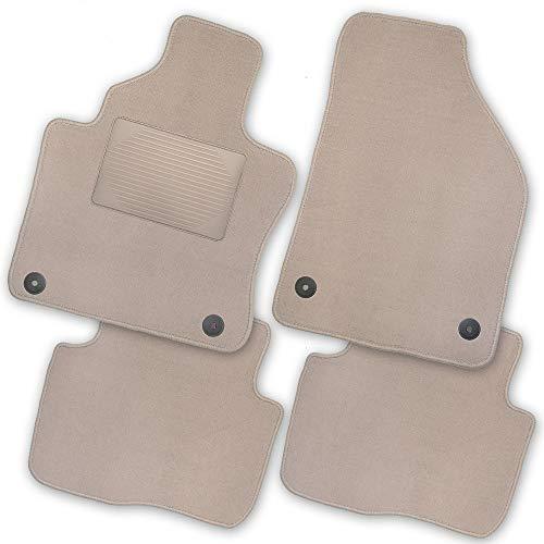 Bär-AfC TR04029 Exklusiv Auto Fußmatten Velours Beige, Rand Kettelung Beige, Trittschutz Kunststoff, Set 1-teilig, Passgenau für Modell Siehe Details