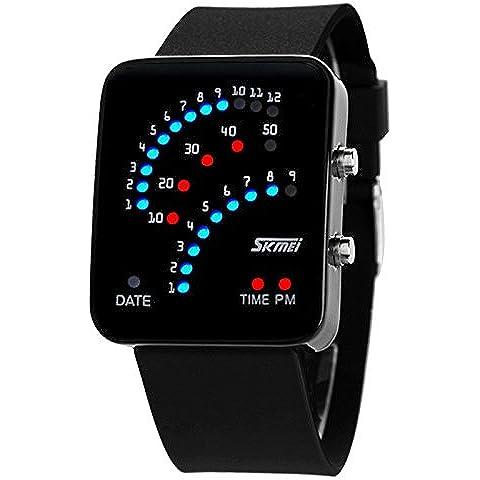 GL Digitale binario 30m cinturino impermeabile LED lampada Display Casual Sport orologio da polso, Nero - Radiocontrollato Orologio Da Parete Analogico