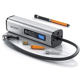 Brandson - Luftkompressor - elektrische Luftpumpe - Kompressor 12 V AC DC - 10,3 bar 150 Psi - Netzteil und Autoadapter - LCD Display - Fahrrad- Motorrad- und Autoreifen Luftmatratzen uvm.