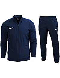 10b313792c55 Nike Mens Academy Woven Polyester Dri Fit Blue Black Football Warm Up Full  Tracksuit