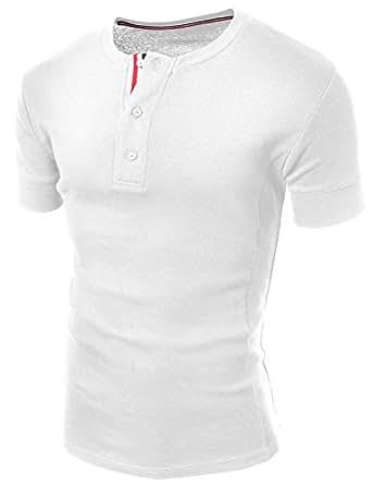 Doublju_uk Mens V-neck Henley WHITE (Large)
